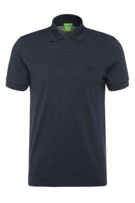Regular-fit piqué polo shirt with tonal details, Dark Blue
