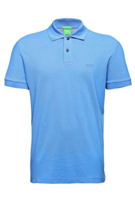 Polo BOSS Green Regular Fit en maille piquée orné de détails ton sur ton, Bleu