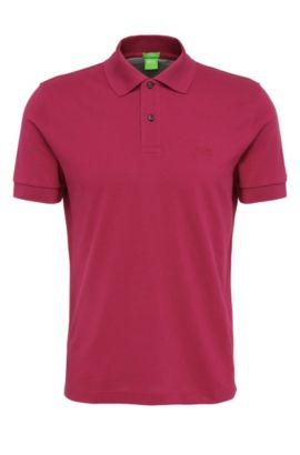 Regular-fit piqué polo shirt with tonal details, Purple