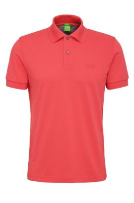 Regular-fit piqué polo shirt with tonal details, Open Red