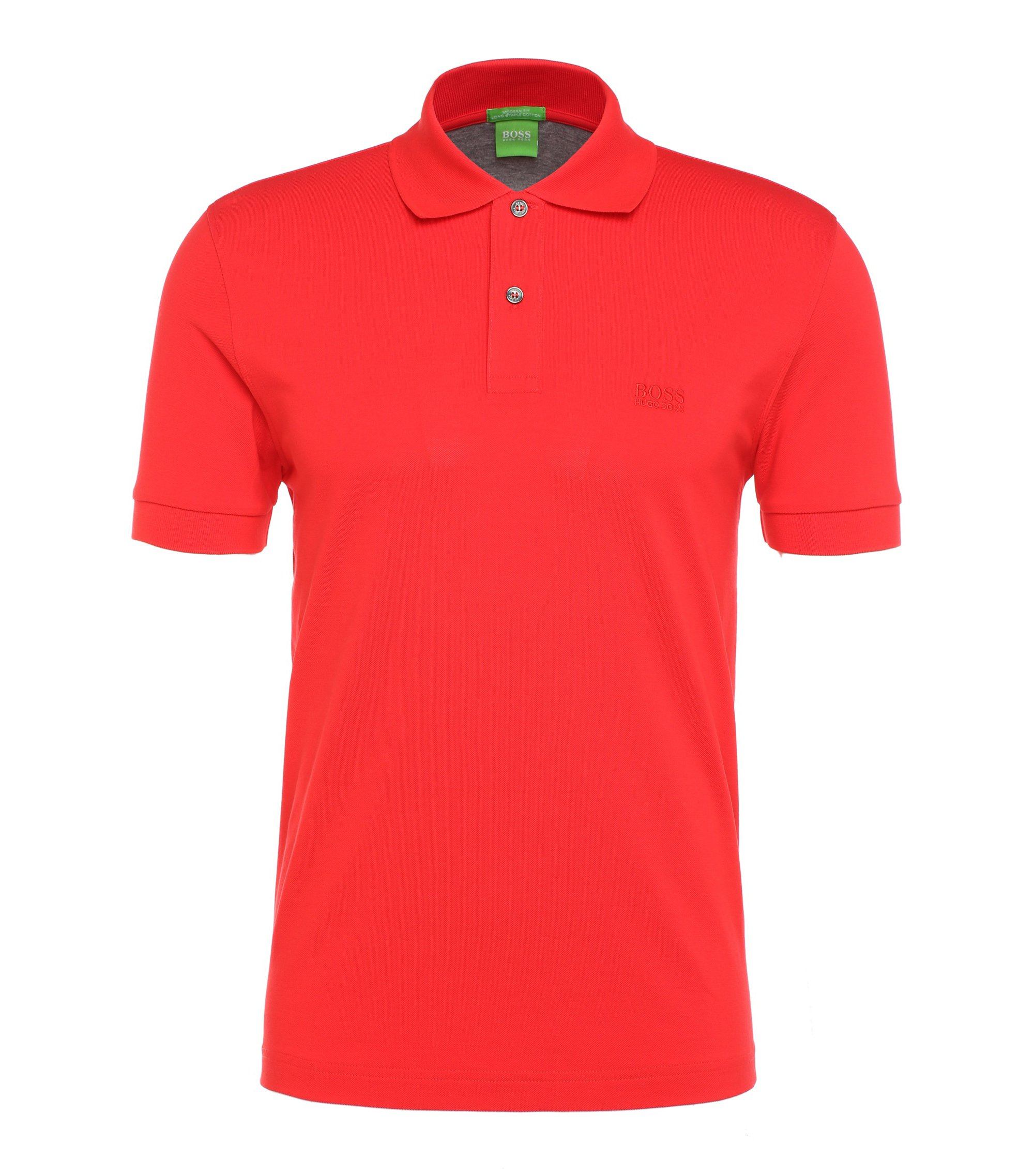 Regular-fit piqué polo shirt with tonal details, Red