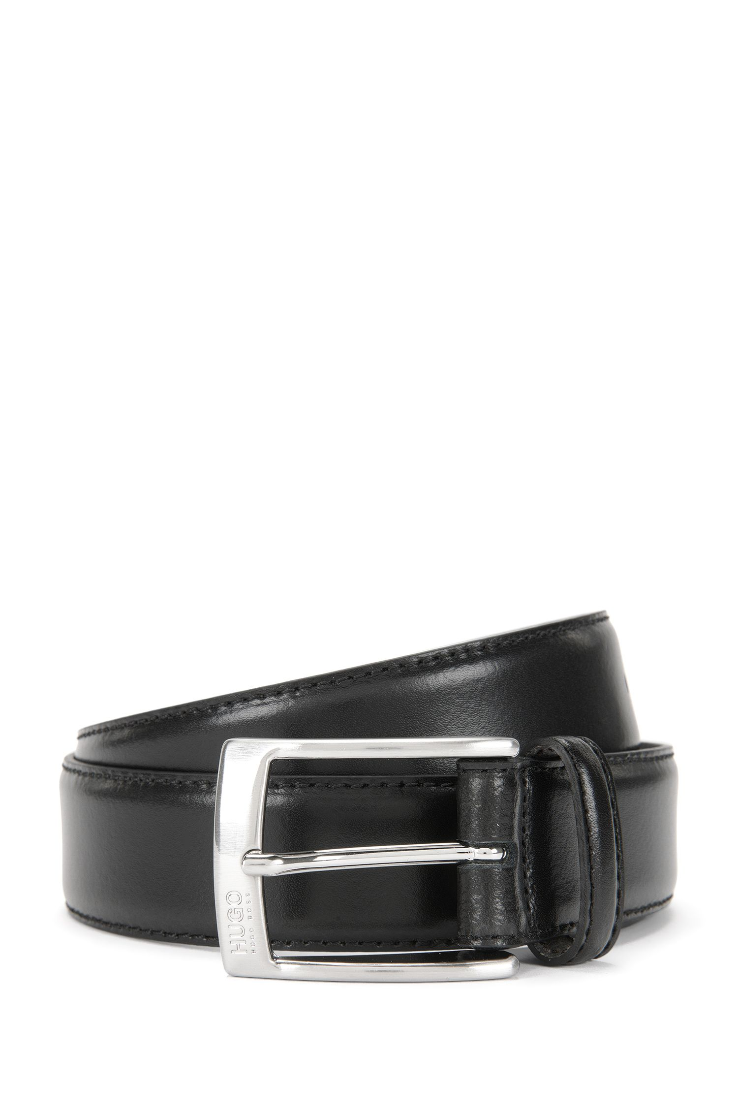 Leather belt with polished pin buckle, Black