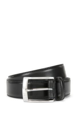Cinturón de piel con hebilla pulida, Negro
