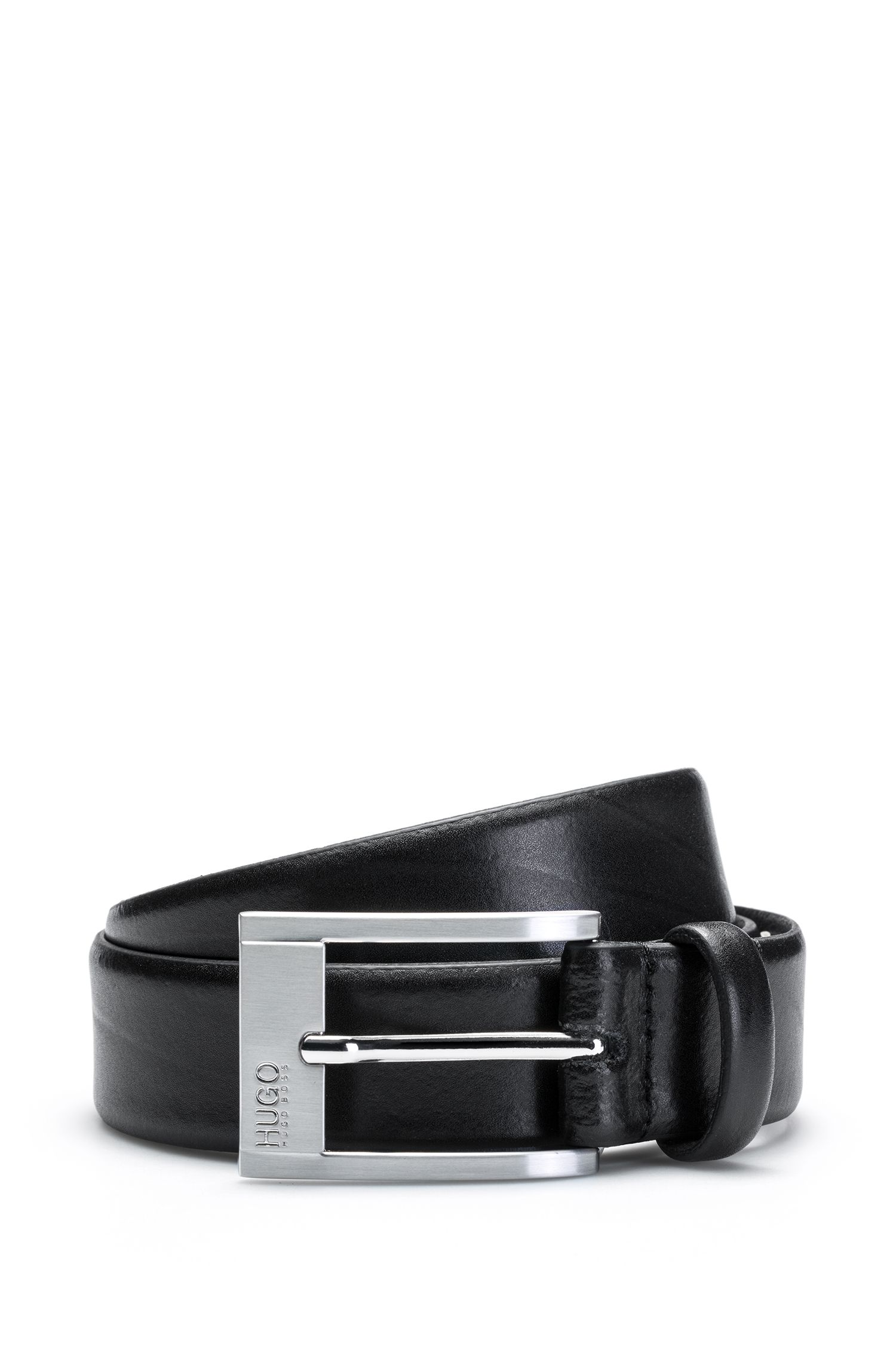 Leather belt with engraved pin buckle