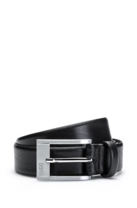 Leather belt with engraved pin buckle, Black