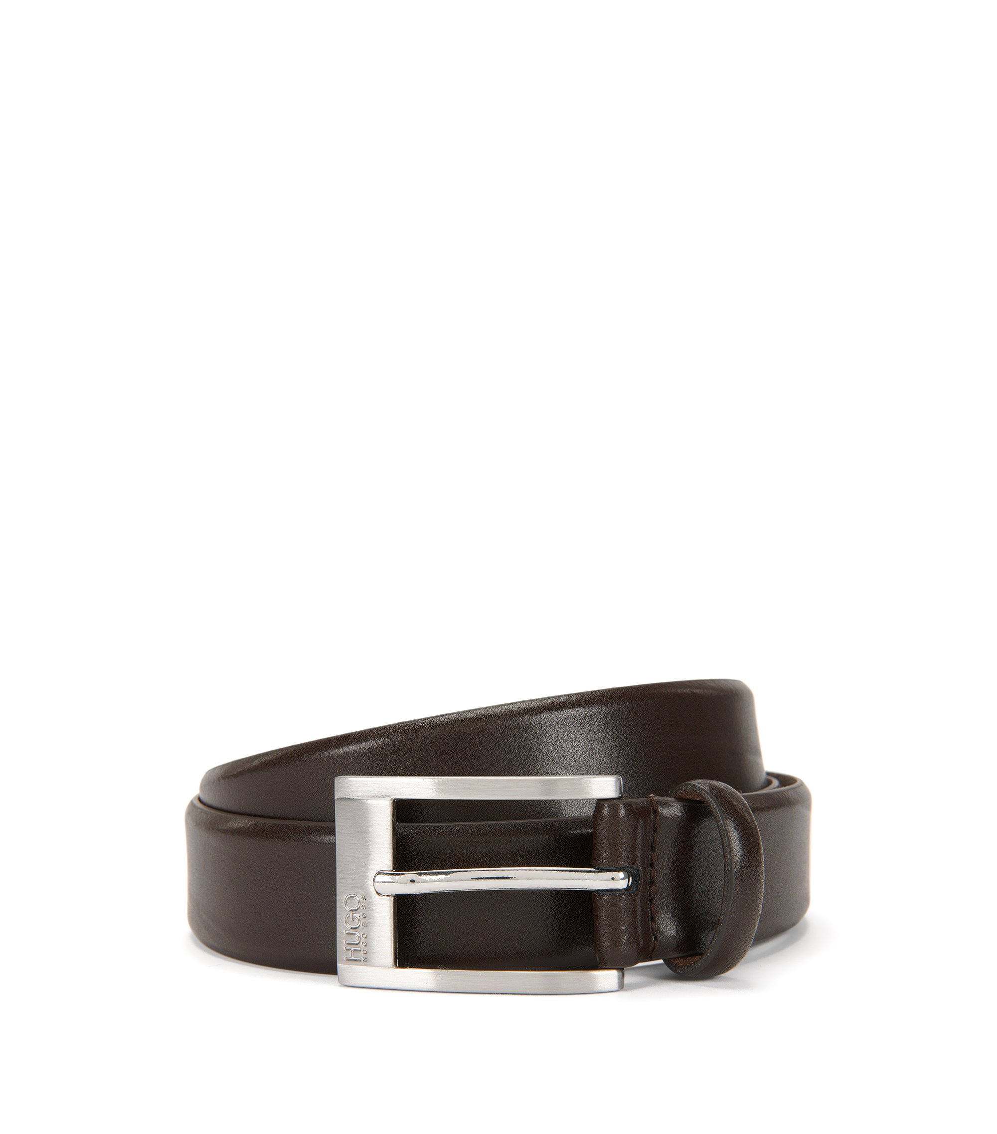 Leather belt with engraved pin buckle, Dark Brown