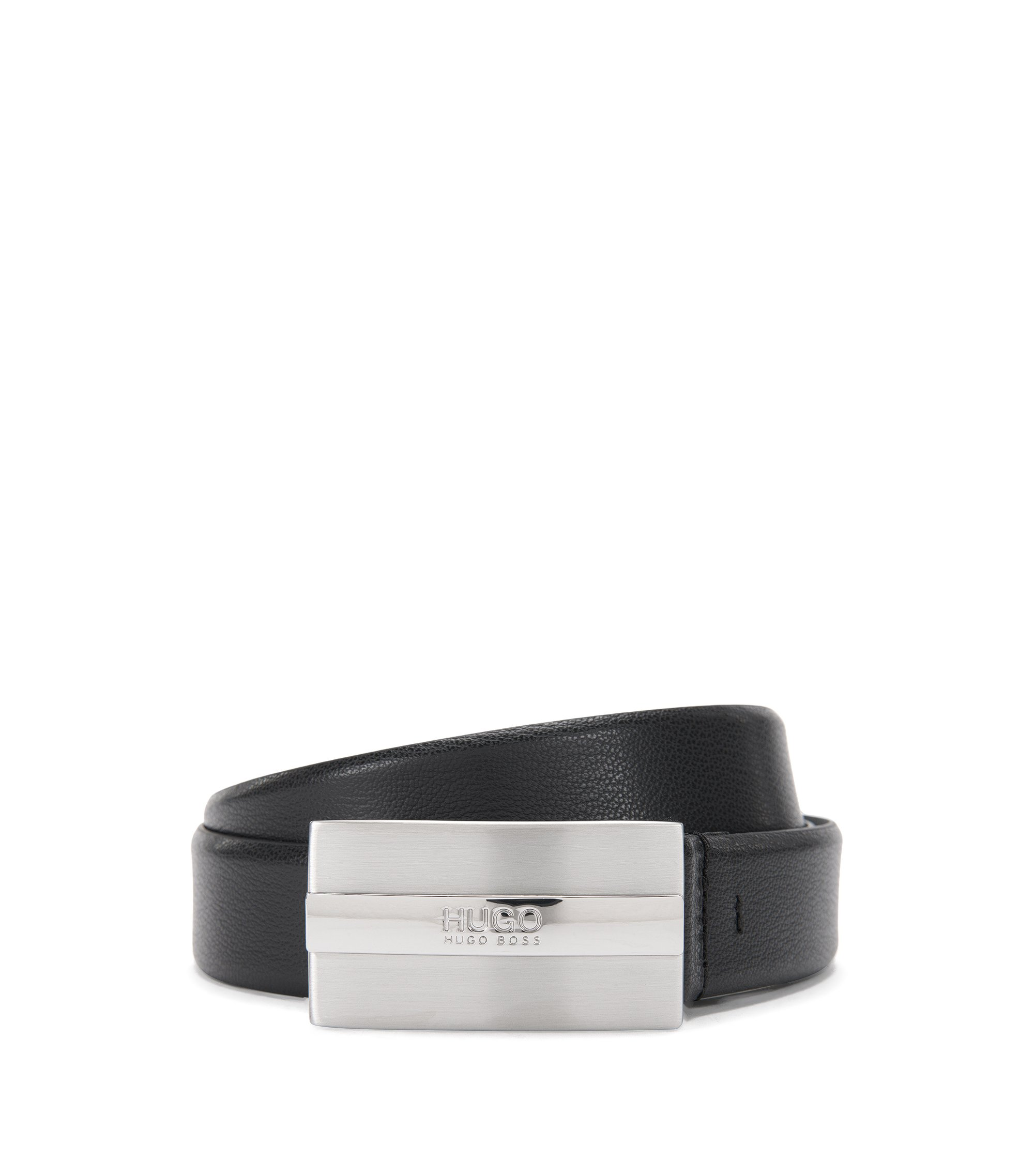 Leather belt with brushed-silver plaque buckle by HUGO Man, Black