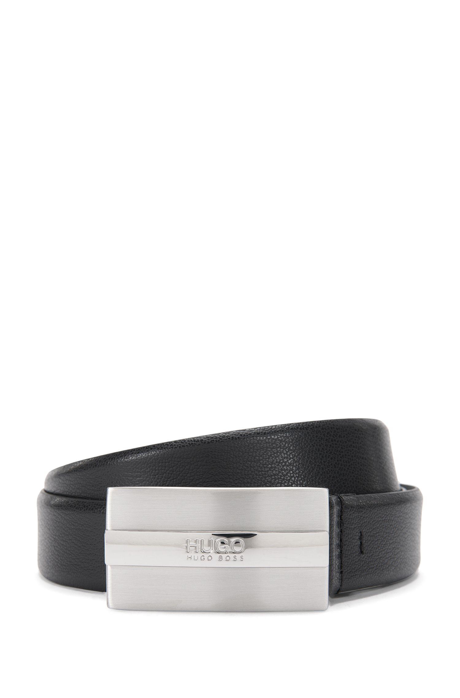 Cinturón de piel con hebilla con placa de plata cepillada de HUGO Hombre, Negro
