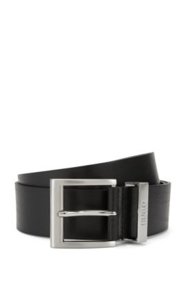 Leather belt with square pin buckle, Black
