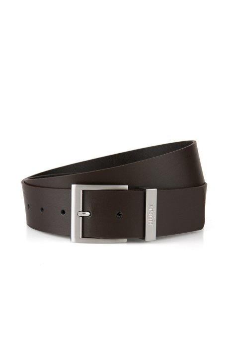 Leather belt with square pin buckle, Dark Brown