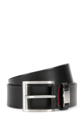 Leather belt with branded loop, Black