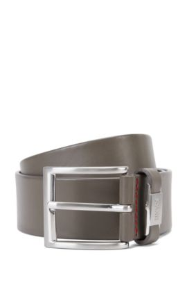 Leather belt with branded loop, Grey