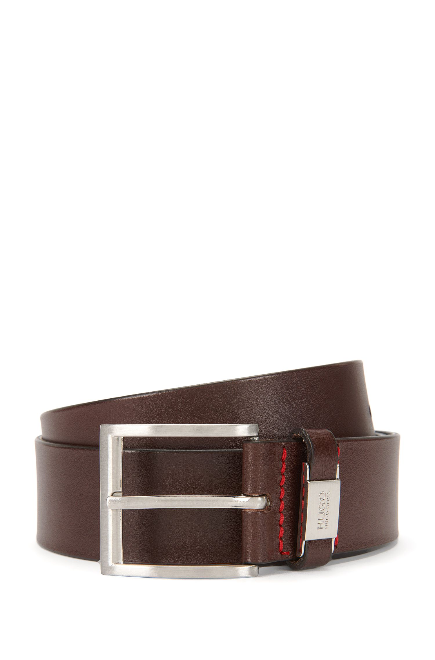 Leather belt with branded loop