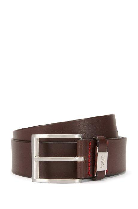 Leather belt with branded loop, Dark Brown