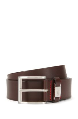 Leather belt with branded loop, Dark Brown