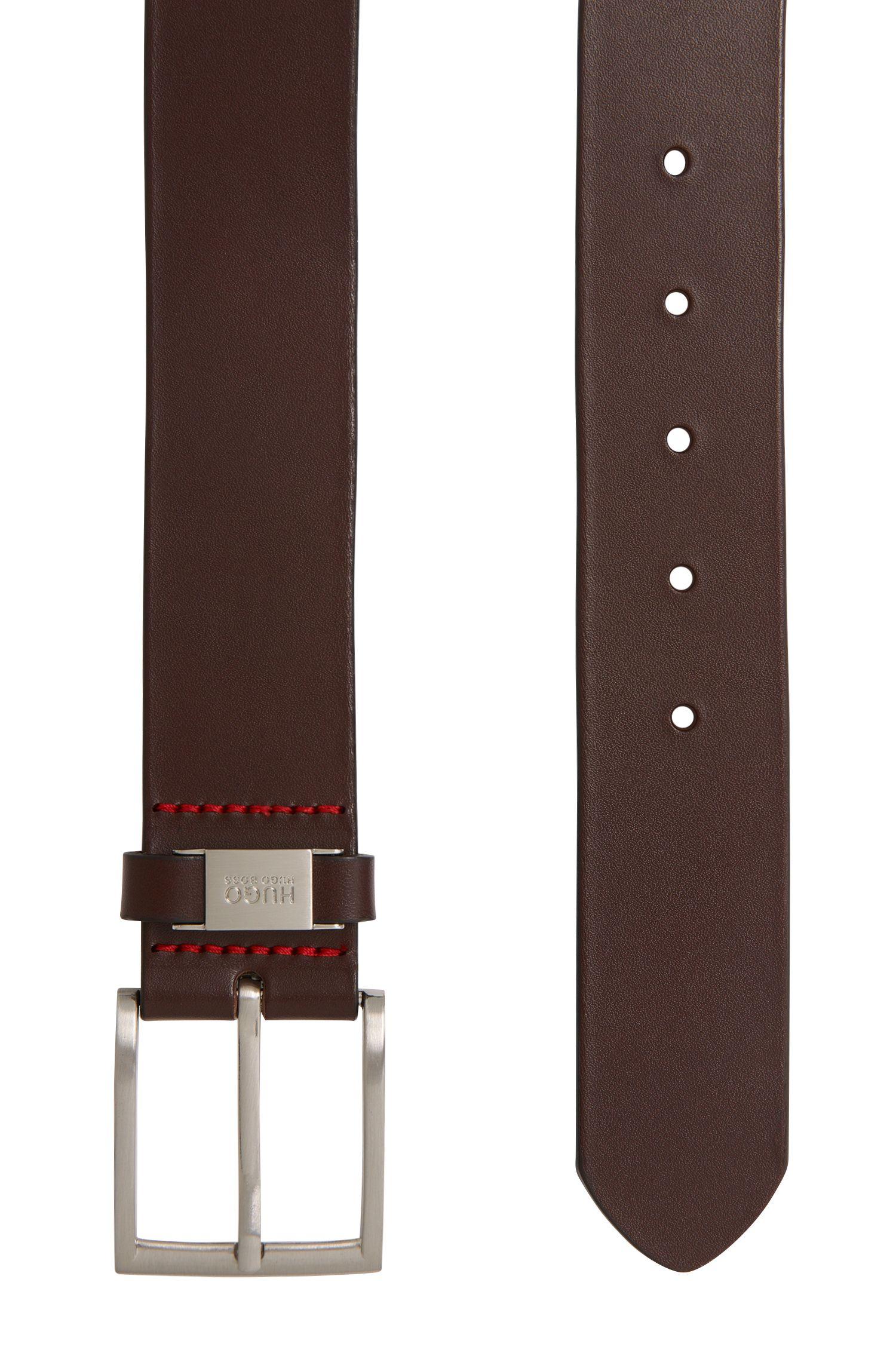 Cinturón de piel con pasador con logo, Marrón oscuro