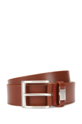 Leather belt with branded loop, Brown