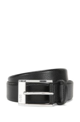 Pin-buckle belt in grained leather , Black