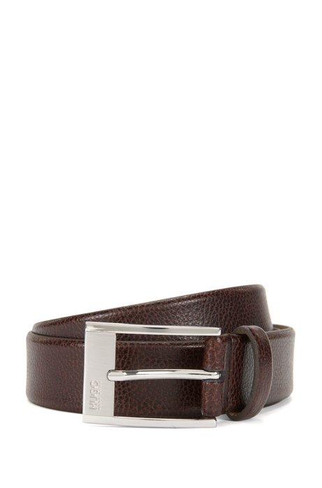 Pin-buckle belt in grained leather , Dark Brown