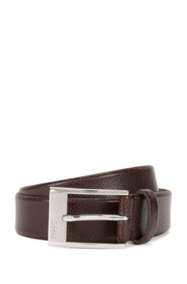 Pin-buckle belt in grained leather , Dark Brown