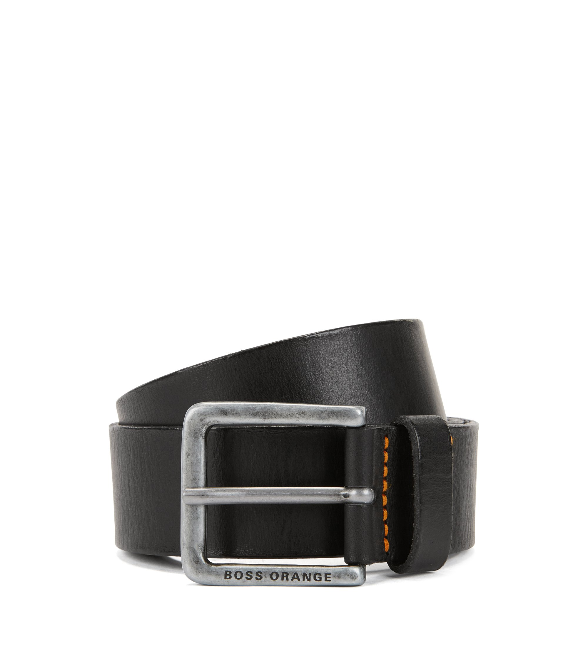 Leather belt with washed effect, Black