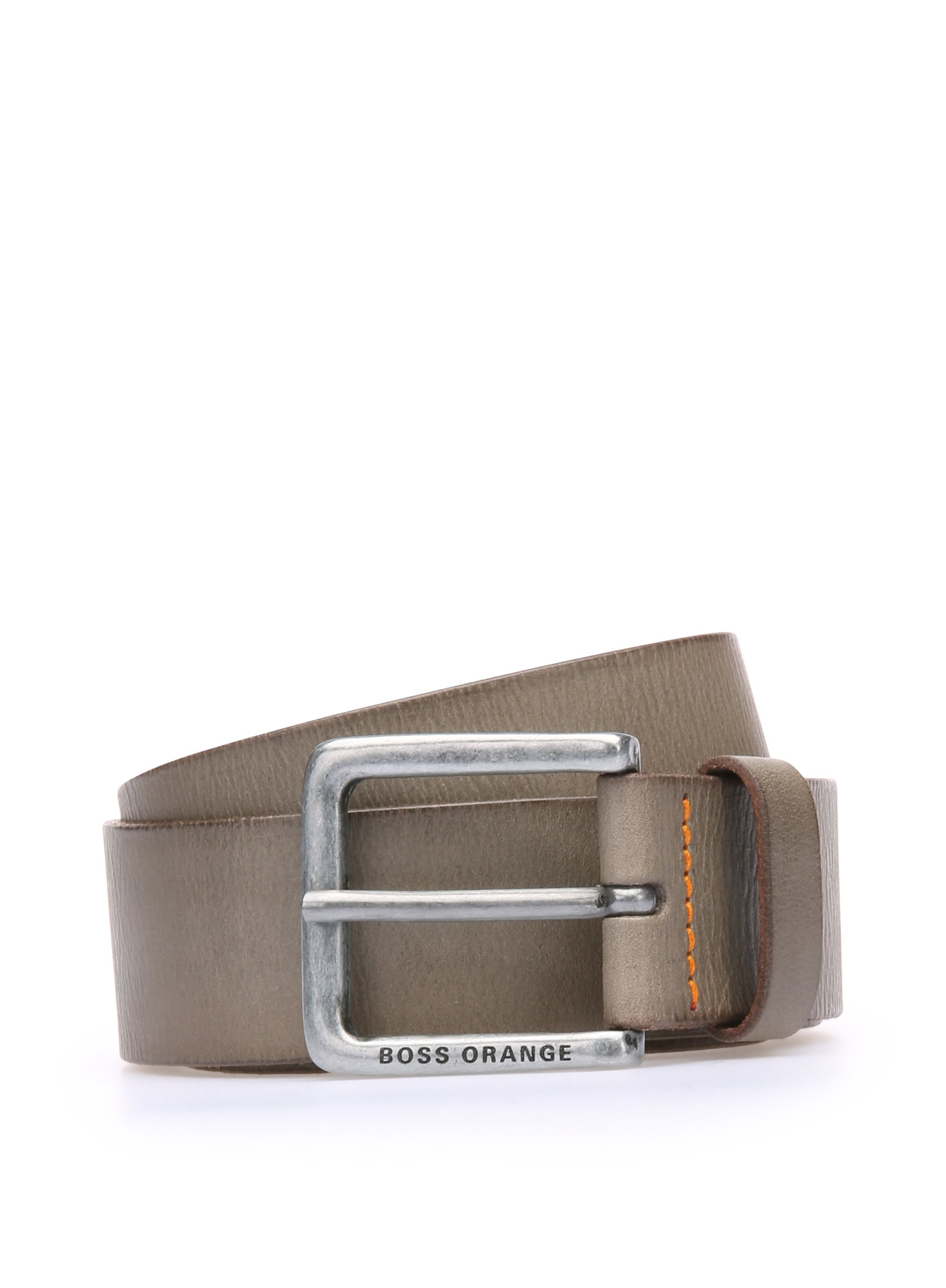 Leather belt with washed effect, Grey