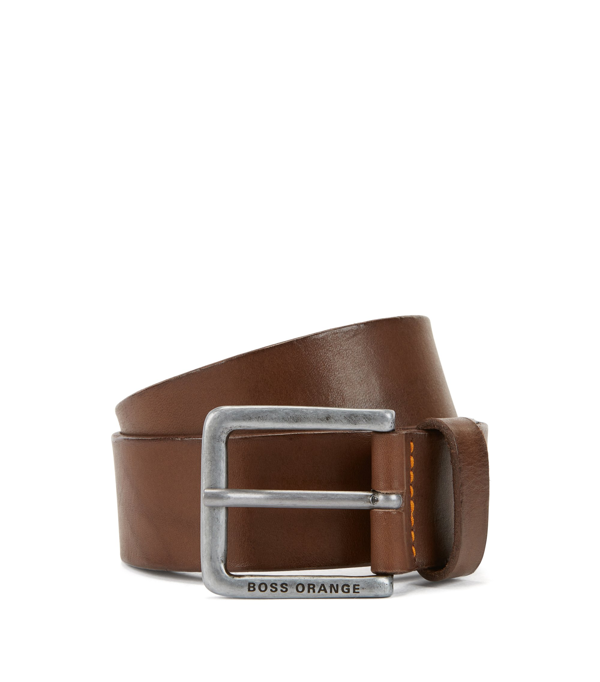 Leather belt with washed effect, Dark Brown