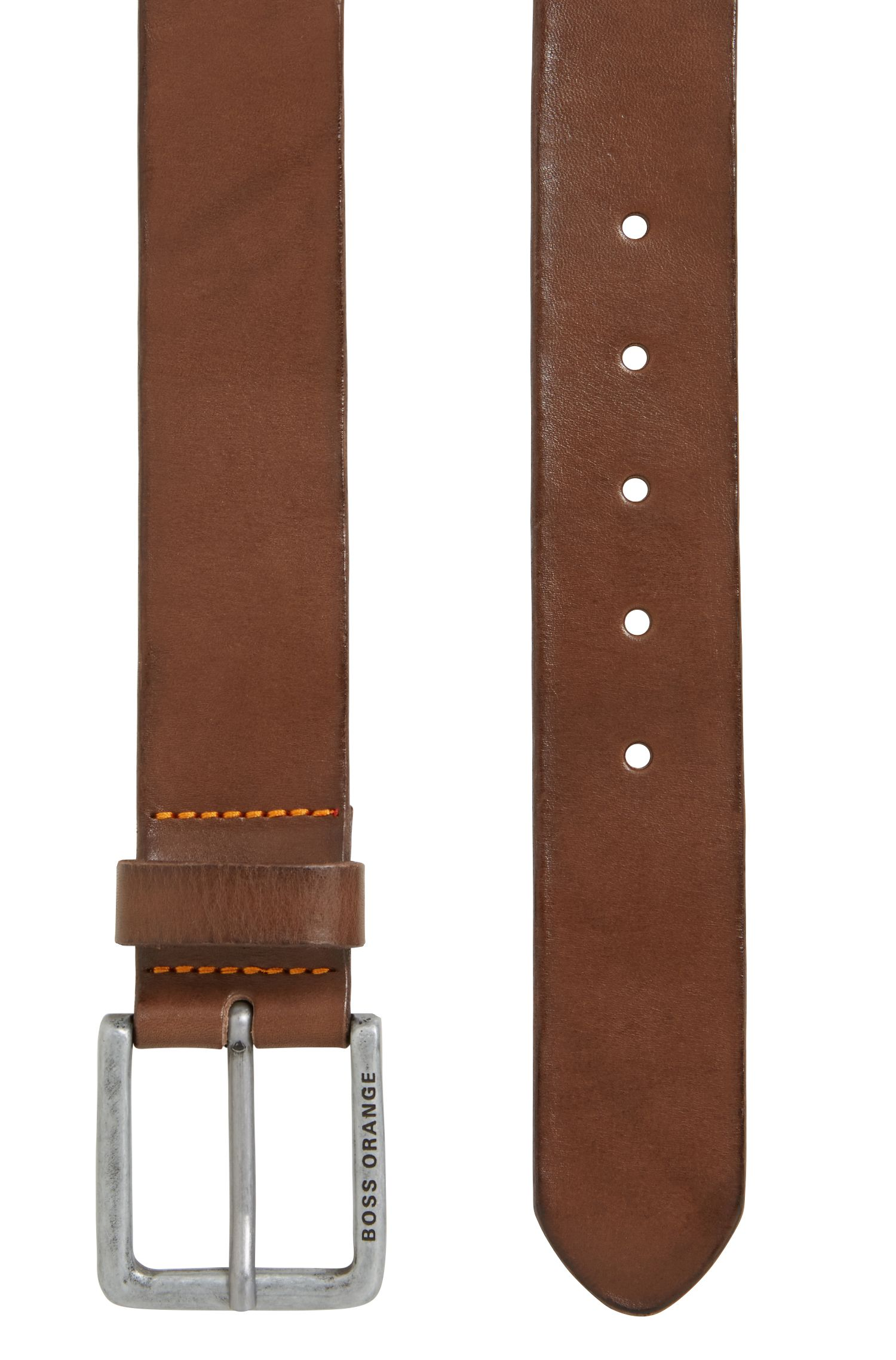 Leather belt with washed effect