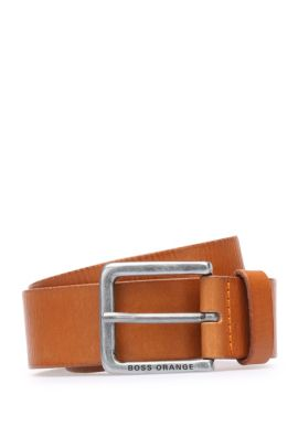 Leather belt with washed effect, Brown