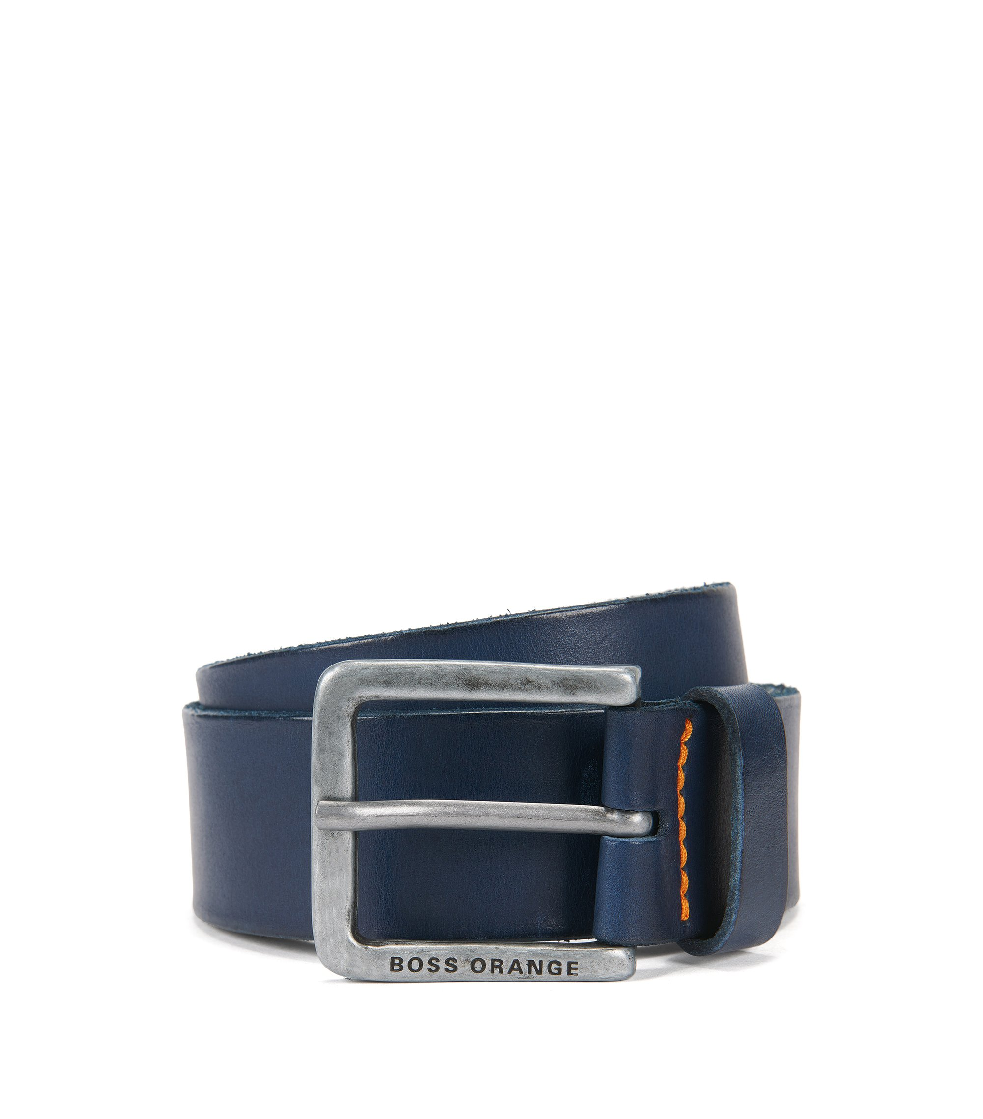 Leather belt with washed effect, Dark Blue