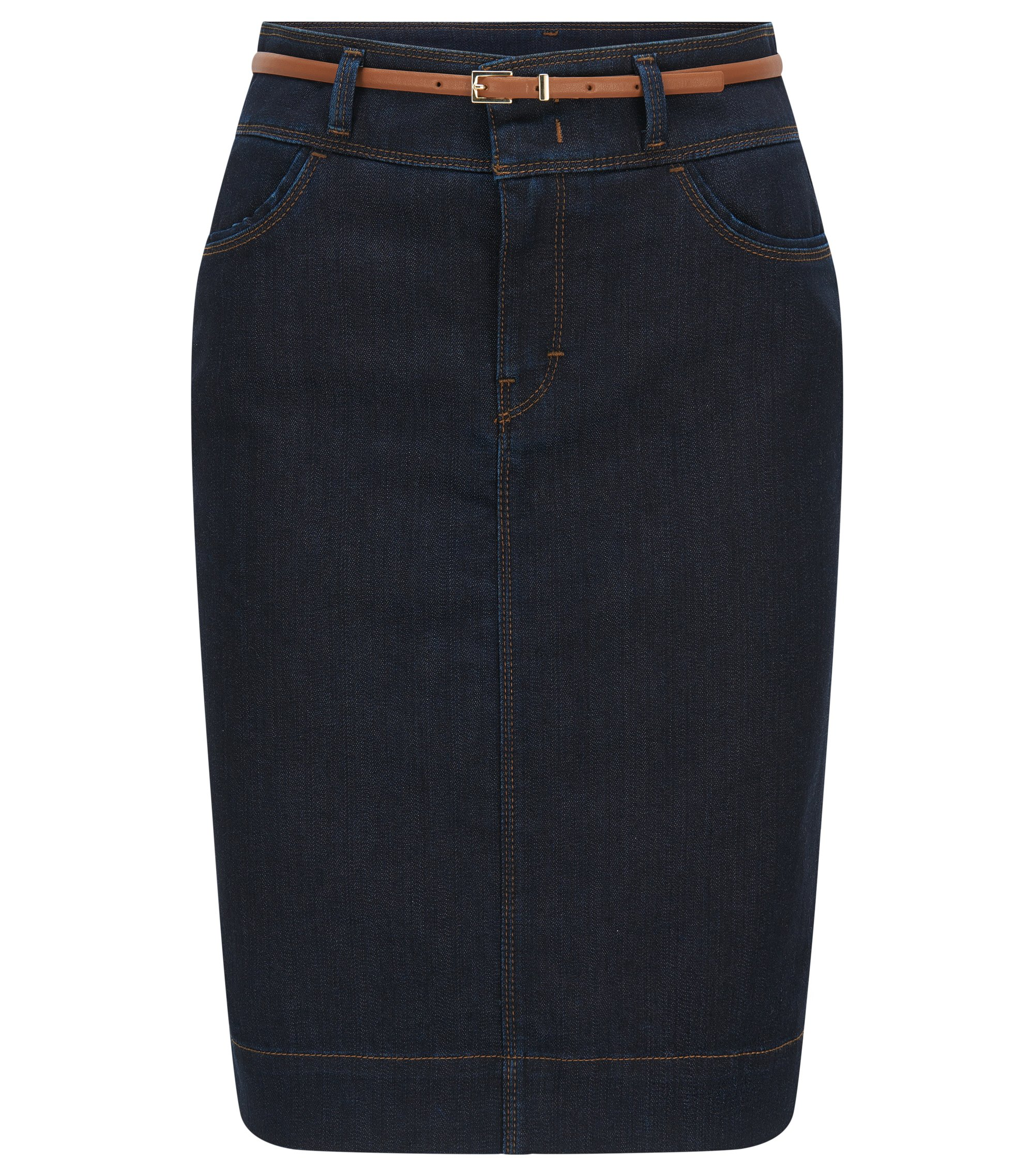 Jeans skirt in stretch cotton blend: 'Nelana SLOW', Dark Blue