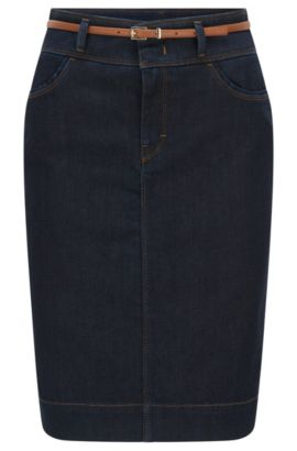 Gonna in jeans in misto cotone elasticizzato: 'Nelana SLOW', Blu scuro
