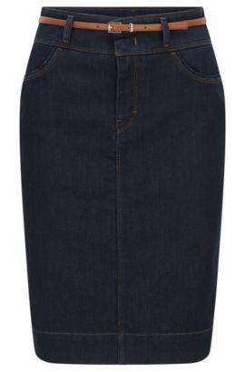Jupe en jean, en coton mélangé extensible: «Nelana SLOW», Bleu foncé