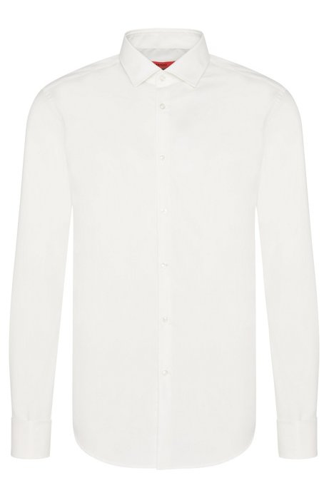 Slim-fit business shirt with French cuffs, Natural