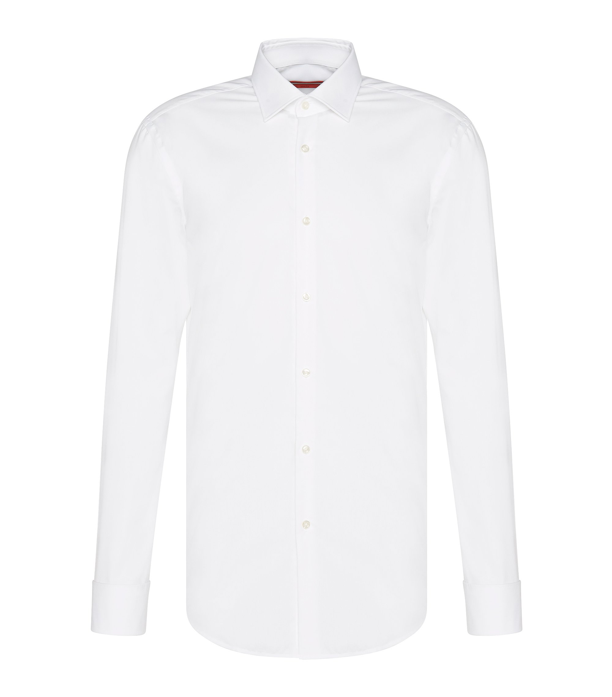 Camicia business slim fit con polsini alla francese, Bianco