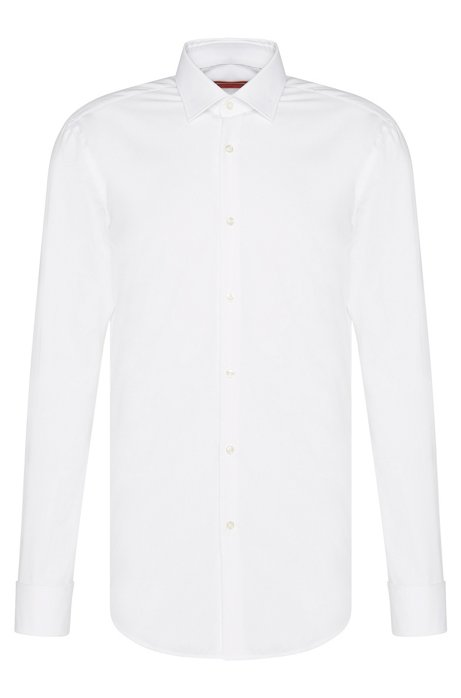Slim-fit business shirt with French cuffs, White