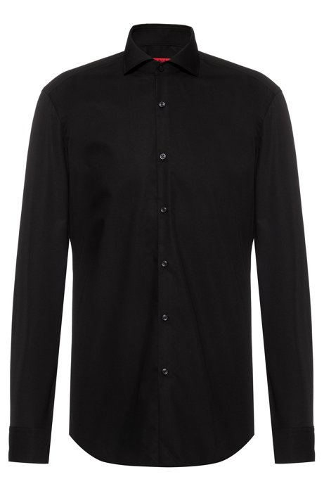 Slim-fit shirt in cotton with extra-long sleeves, Black