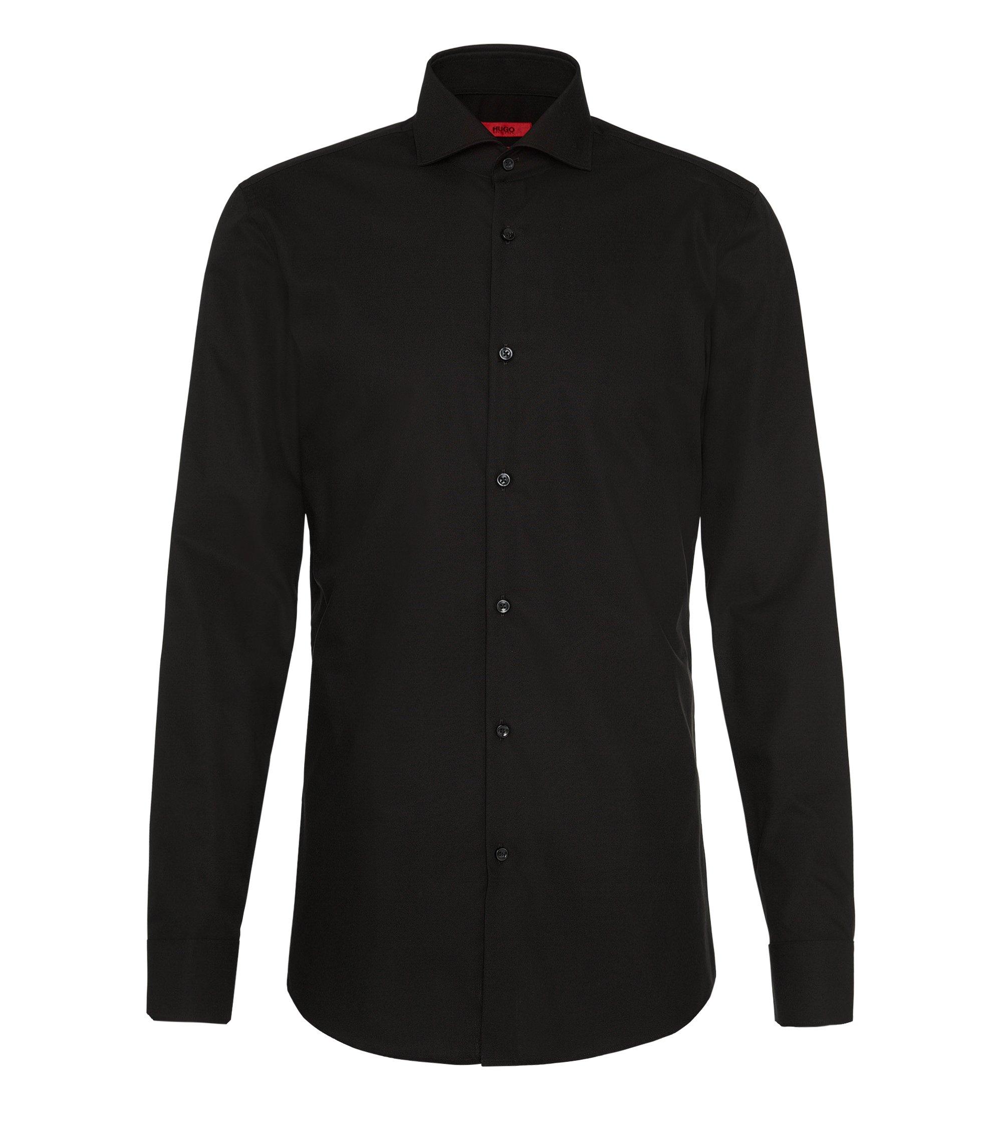 Camicia slim fit in cotone tinta unita: 'C-Jason', Nero