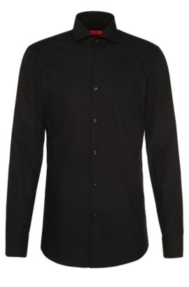 Camisa lisa slim fit en algodón: 'C-Jason', Negro