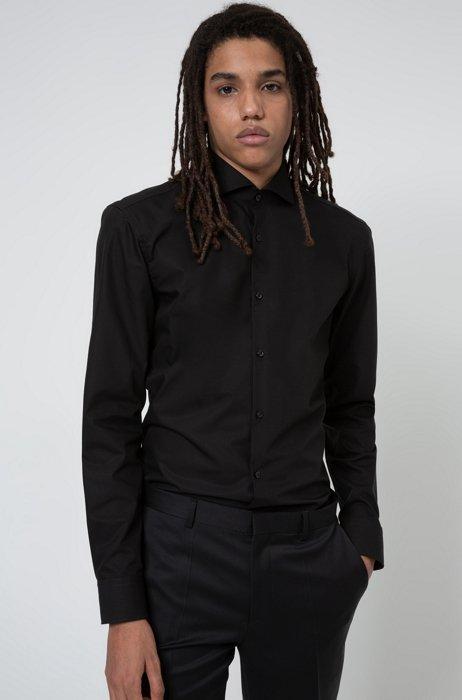Slim-Fit Hemd aus Baumwolle mit Ärmeln mit Überlänge, Schwarz