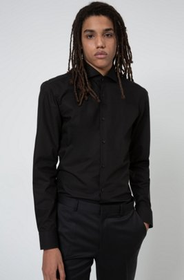 Slim-fit shirt in cotton with spread collar, Black