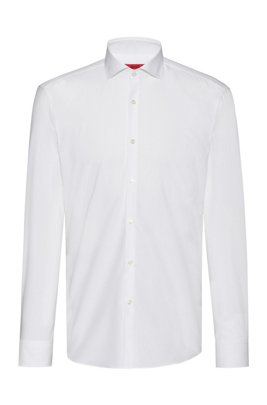 Slim-fit shirt in cotton with extra-long sleeves, White