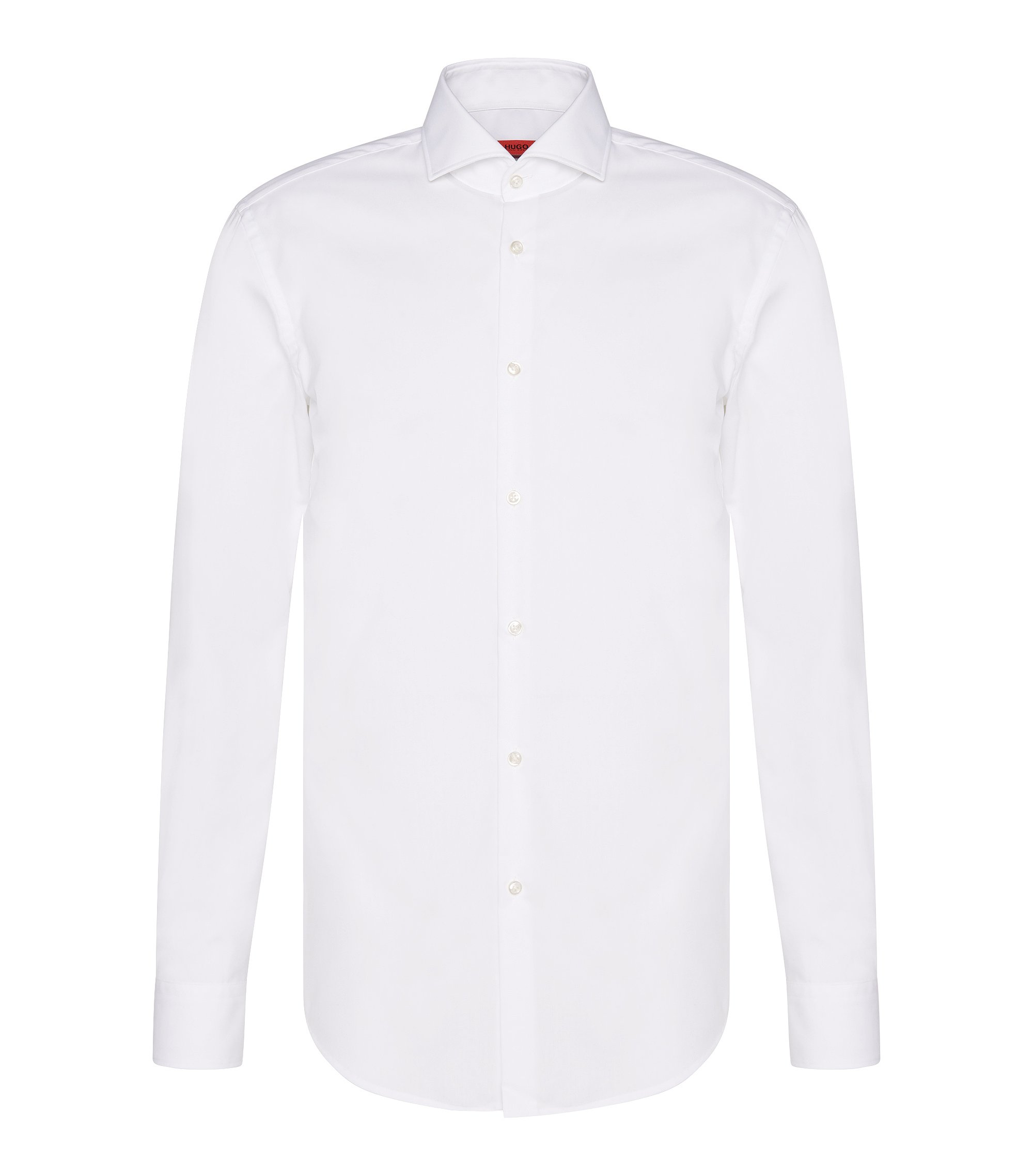 Camisa lisa slim fit en algodón: 'C-Jason', Blanco