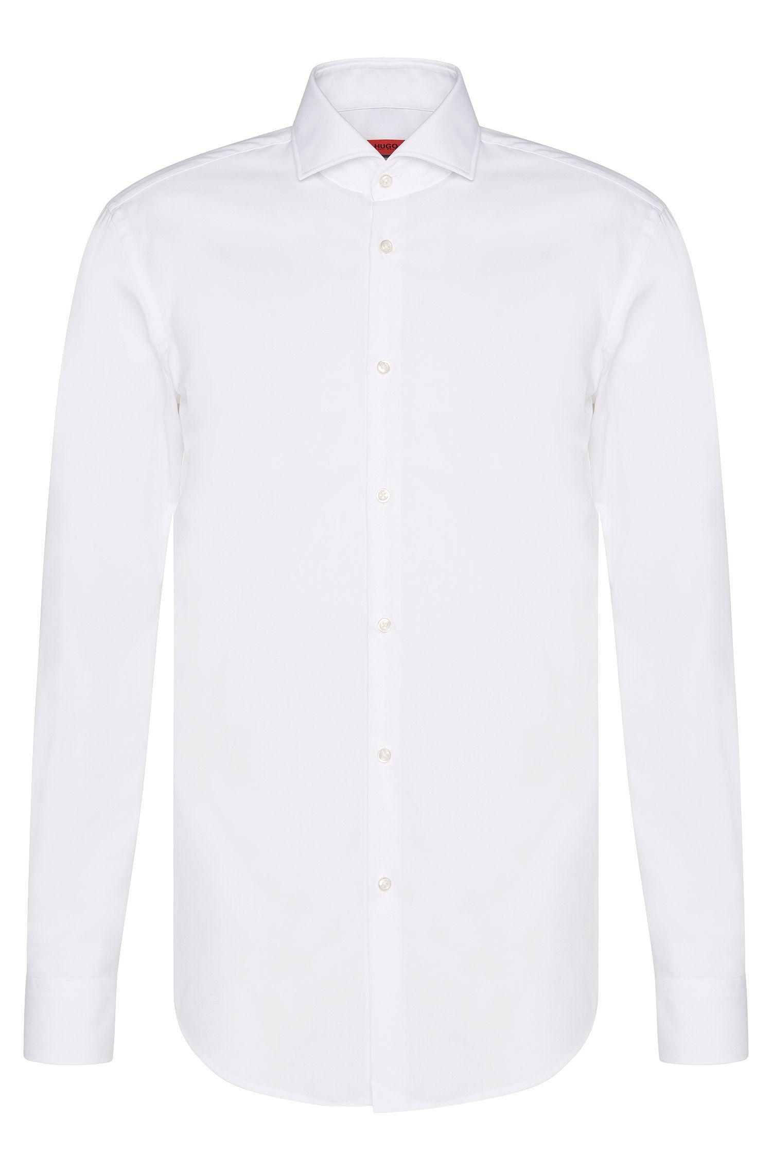 Effen slim-fit overhemd van katoen: 'C-Jason'