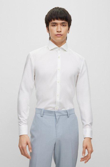 Slim-Fit Hemd aus Baumwolle mit Ärmeln mit Überlänge, Weiß