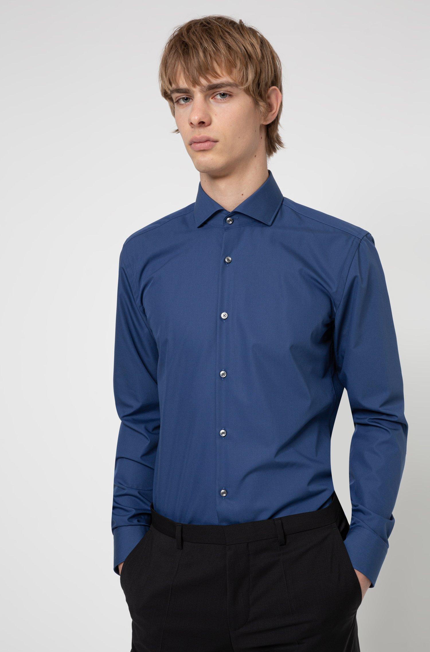 Slim-Fit Hemd aus Baumwolle mit Ärmeln mit Überlänge, Blau