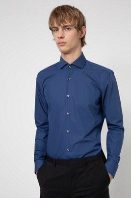 Slim-fit shirt in cotton with spread collar, Blue