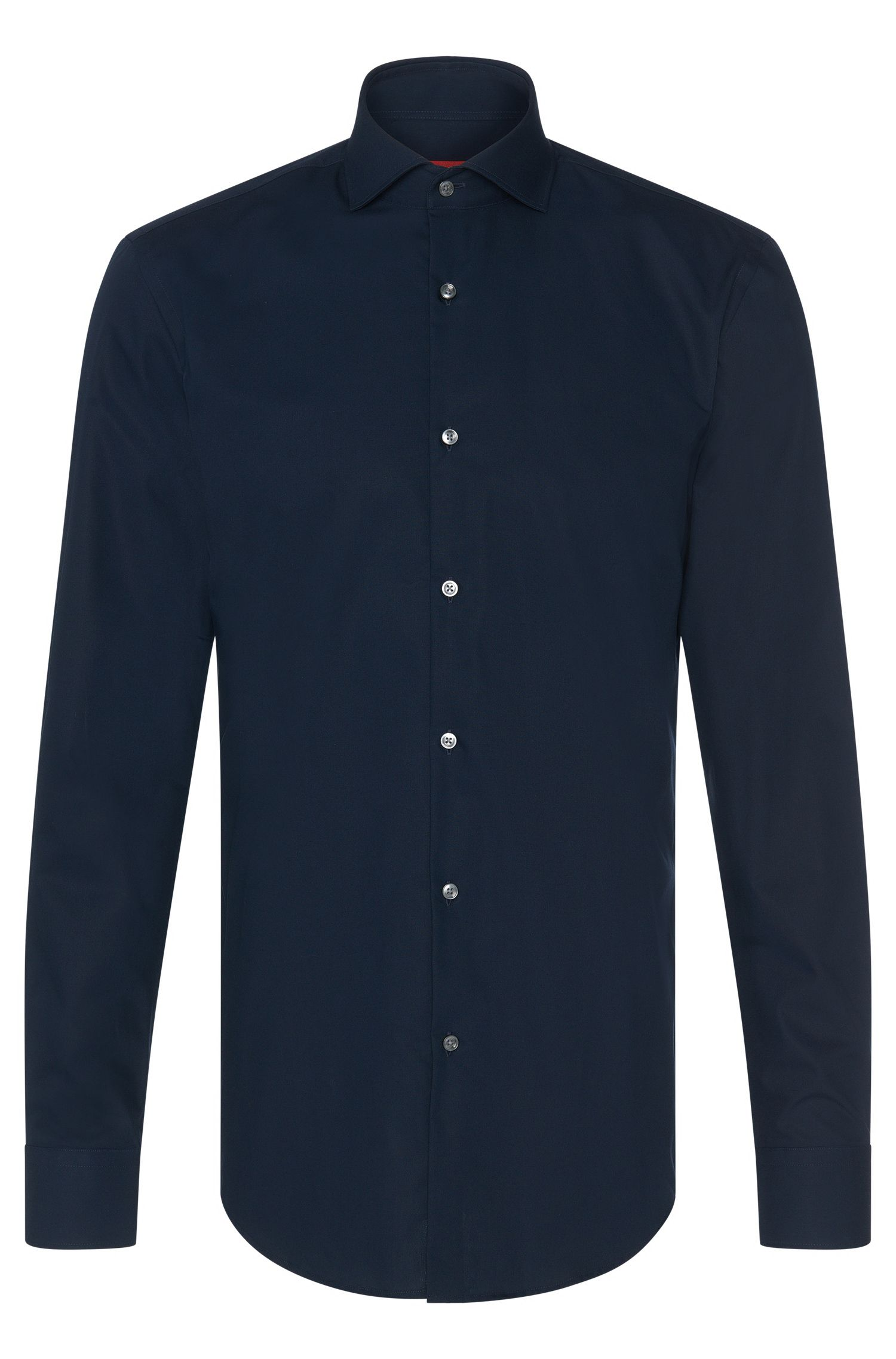 Camicia slim fit in cotone tinta unita: 'C-Jason'