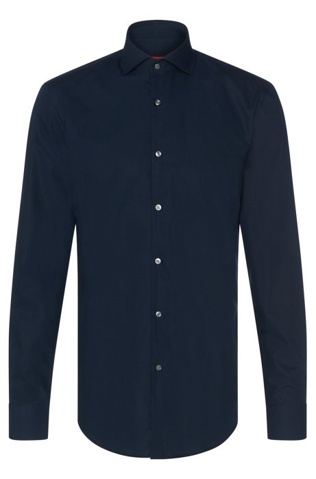 Slim-Fit Hemd aus Baumwolle mit Ärmeln mit Überlänge, Dunkelblau