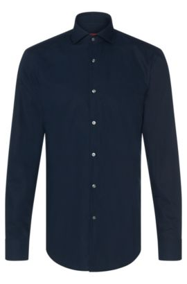 Plain slim-fit cotton shirt: 'C-Jason', Dark Blue